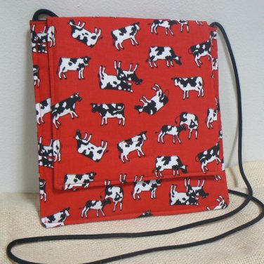 Small Square Fabric Purse w/ Tossed Cows on Red