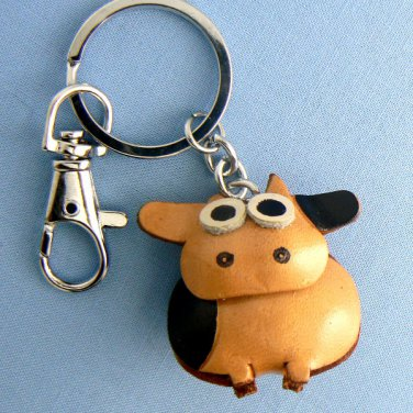 Sitting Cow Leather Key Chain Ring Keychain