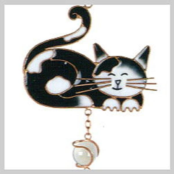 Black & White Kitty Cat Copper Wind Chime