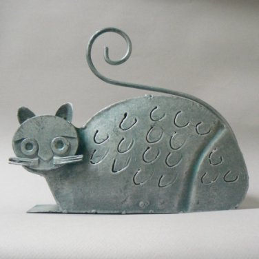 Metal Gray Kitty Cat Lantern Candle Holder