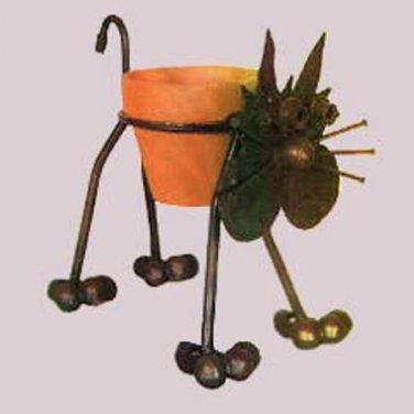 Nuts n Bolts Metal Kitty Cat Plant Holder Planter
