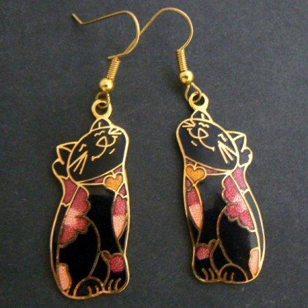 Black Cat Floral Cloisonné Enamel Dangle Earrings