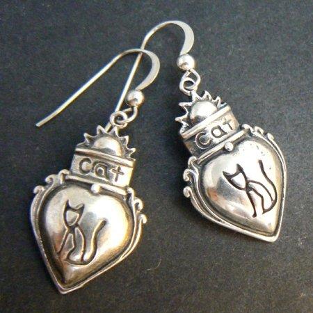 Cat in Heart Sterling Silver Dangle Earrings