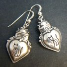 Cat in Heart Sterling Silver Dangle Earrings