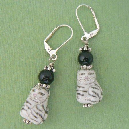 Cat Porcelain & Black Onyx Dangle Earrings