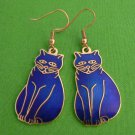 Blue Cloisonne Enamel Kitty Cat Earrings