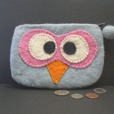 Grey Owl Face Felt Coin Change Purse