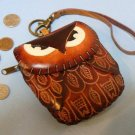 Leather Owl Wristlet Change / Coin Purse / Brown