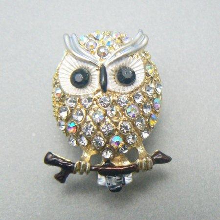 Tiny Owl Rhinestone Crystal Pin
