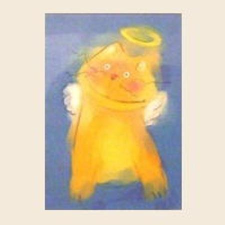 Kitty Cat Guardian Angel Matted Print