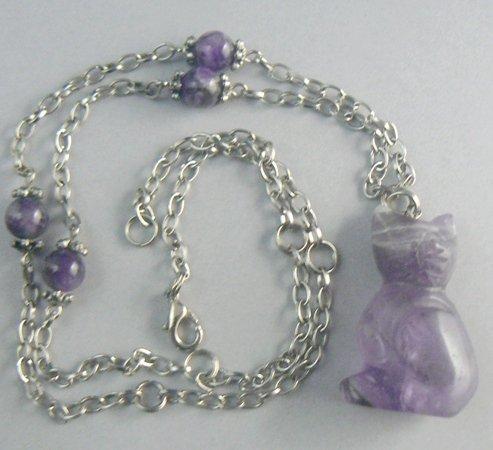 Amethyst KItty Cat Necklace w/ Beaded Earrings