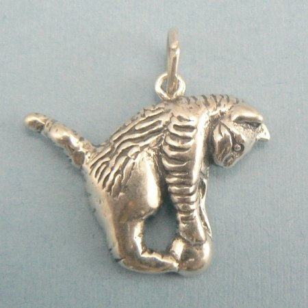 Poucing Kitty Cat Sterling Silver Charm
