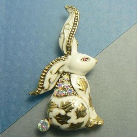 White Bunny Rabbit Enamel Gold Pin Brooch