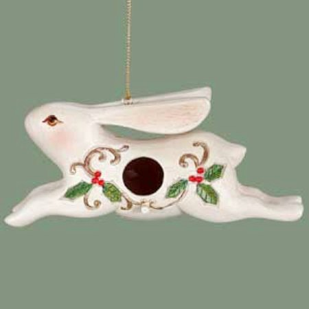 White Rabbit Birdhouse Christmas Tree Ornament