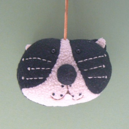 Black & White Cat Head Christmas Ornament