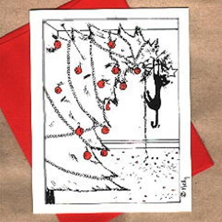 Cat in Tree Christmas Greeting Cards Set