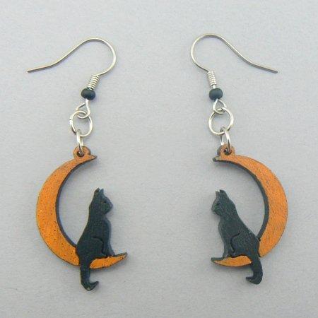 Cat on the Moon Wood Halloween Earrings