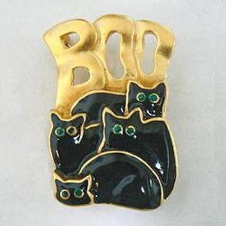 Four Black Cats Halloween Pin Brooch