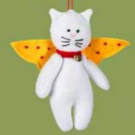 White Cat Felt Angel Christmas Tree Ornament