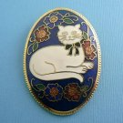 Cat Cloisonne Flower Enamel Cat Pin - Blue