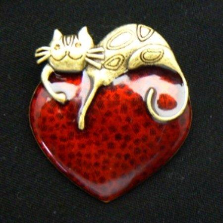 Cat on Red Heart Enamel Pin