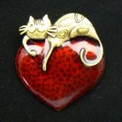 Cat on Red Heart Enamel Pin