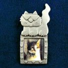 Cool Cat Frame Silver Pewter  Pin