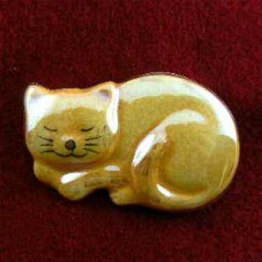Sleeping Orange Kitty Cat Ceramic Pin