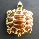 Brown and Gold Turtle Tortise Enamel Pin Brooch