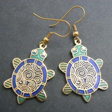 Cloisonne Enamel Turtle Earrings - Green & Blue