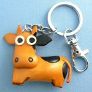 Standing Cow Leather Key Chain Keychain Ring