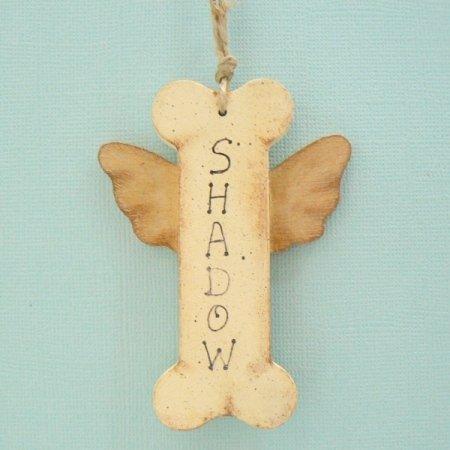 Dog Bone Angel Personalized Wood Christmas Tree Ornament