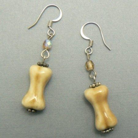 Porcelain Dog Bone Dogbone Earrings