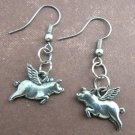 Flying Pigs Pewter Silver Dangle Pig Earrings