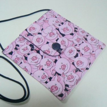 Small Square Fabric Purse w/ Pink Playful Pigs Print
