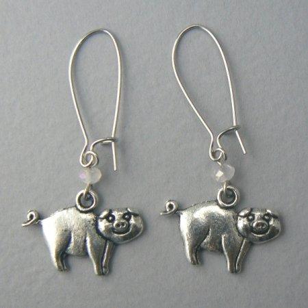 Happy Pigs Silver Toned Dangle Pig Earrings