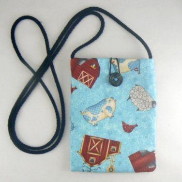 Mini Pouch with Barnyard Animals Cow Sheep Purse Bag
