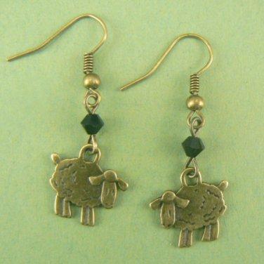 Little Sheep Lamb Bronze Dangle Earrings