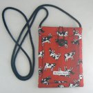 Mini Pouch w/ Tossed Cows on Red