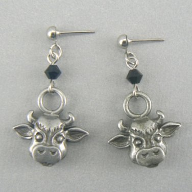 Pewter Cow Head Post Earrings (Silver Toned)