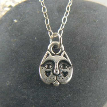 Tiny Cat Face Silver Pewter Necklace