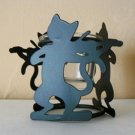 Cat & Violin Black Metal Candle Holder