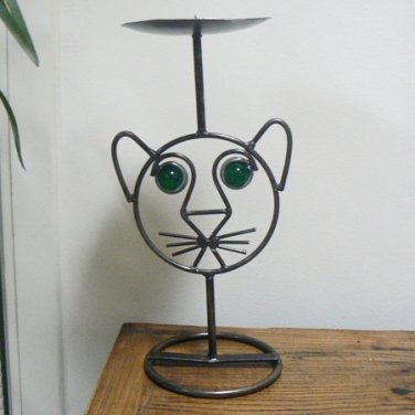 Cat Face Lion Cub Wrought Iron Candle Holder