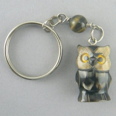 Hand Carved Buffalo Horn Owl Key Chain Ring Keychain
