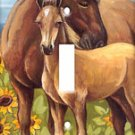 Horses In Sunflowers Single Switchplate Cover New Handcrafted USA