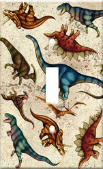 Dinosaur Toss Single Switchplate Cover Handcrafted USA