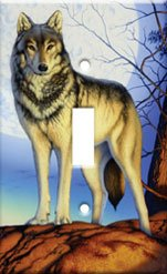 Timber Wolf Single Switchplate Cover Handcrafted USA