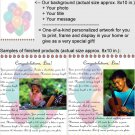 Personalized artwork: balloons design + your photo + your message