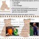 Personalized artwork: teddy bear design + your photo + your message