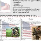Personalized artwork: US flag design + your photo + your message